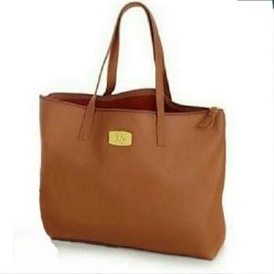 QVC Joy Mangano Cognac Leather tote carryall bag